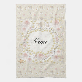 Personalized Seashells and Pearls Towel