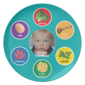 Personalized Seder Plate (Rainbow/Hebrew)