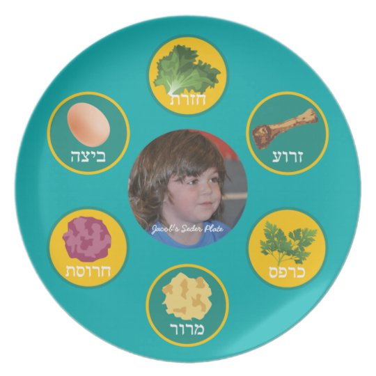 Personalized Seder Plate (Turquoise/Hebrew)