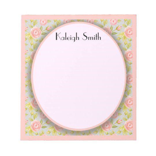 Personalized Shabby Chic Pink Floral w/ Greenery Notepad