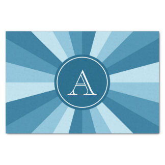 Personalized Shades of Blue Color Wheel Monogram Tissue Paper