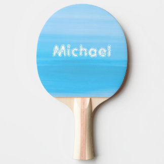 Personalized shades of light blue ocean waves ping pong paddle