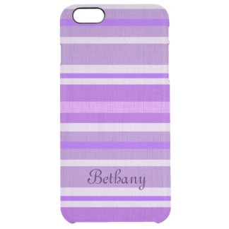 Personalized Shades of Purple Linen Look Stripes Clear iPhone 6 Plus Case