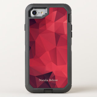 Personalized Shades of Red Geometric OtterBox Defender iPhone 8/7 Case