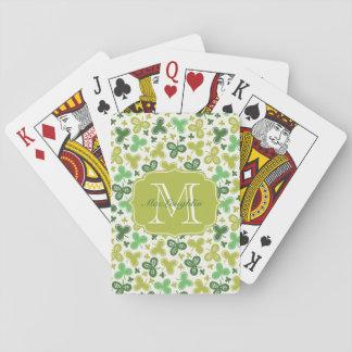 Personalized Shamrock Monogram Playing Cards