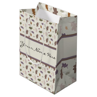 Personalized Showers of Colorful Oak Leaves Medium Gift Bag