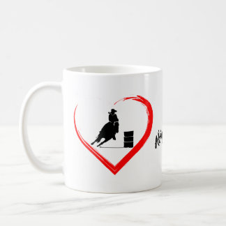Personalized Silhouette Barrel Racing Horse, Heart Coffee Mug