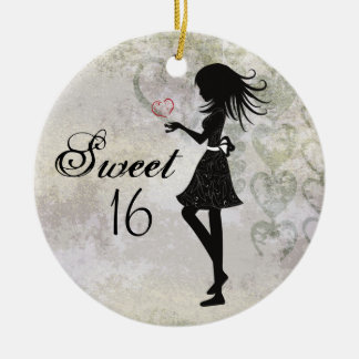 Personalized Silhouette Girl and Hearts Sweet 16 Ceramic Ornament