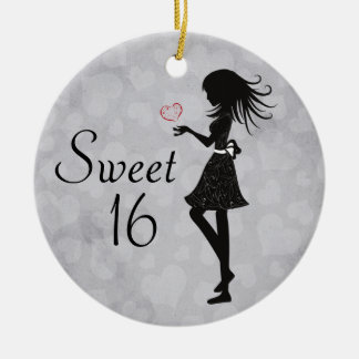 Personalized Silhouette Girl and Hearts Sweet 16 Round Ceramic Ornament