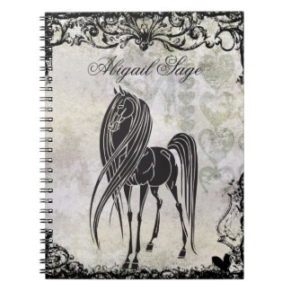 Personalized Silhouette Horse and Grungy Hearts Note Book