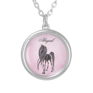 Personalized Silhouette Horse Pink and Black Silver Plated Necklace