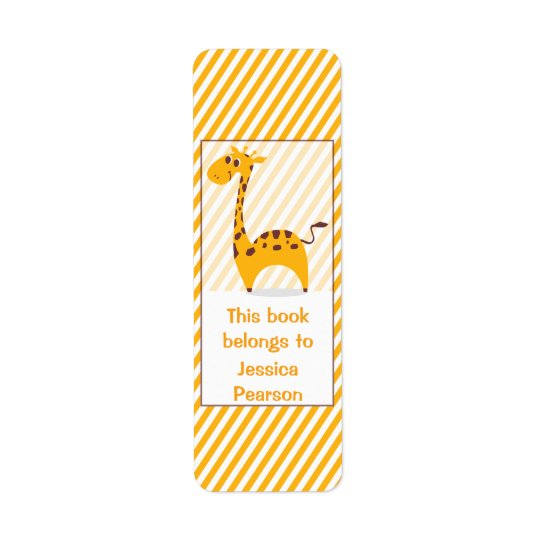Personalized Silly Giraffe Bookplate