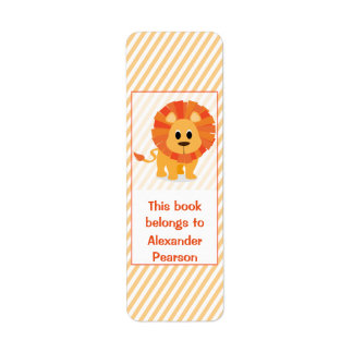 Personalized Silly Lion Bookplate Return Address Label