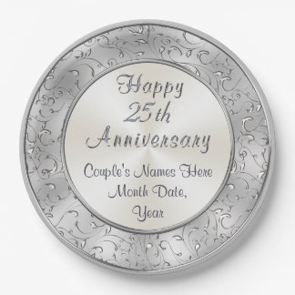 25th Anniversary Personalized Party Plates 25th Anniversary Personalized Melamine Plates