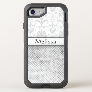 Personalized Silver Bling Pattern OtterBox Defender iPhone 7 Case