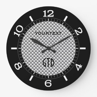Personalized Silver Carbon Fiber Style Dial on a Wall Clocks