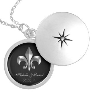 Personalized Silver Fleur de Lis Keepsake Locket Necklace