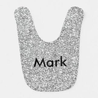 Personalized Silver Glitter Baby Bib