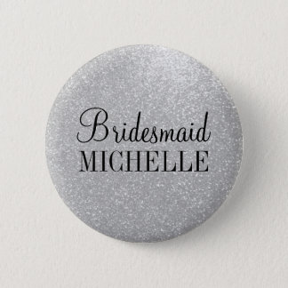 Personalized silver glitter bridesmaids buttons
