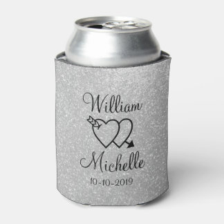 Personalized silver glitter wedding can coolers can cooler