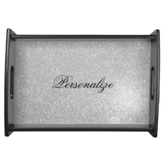 Personalized silver glitter wedding serving tray