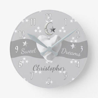 Personalized Silver gray Stars & Moon Round Clock