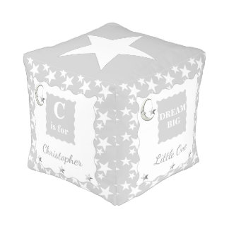 Personalized Silver grey moon and stars nursery Pouf