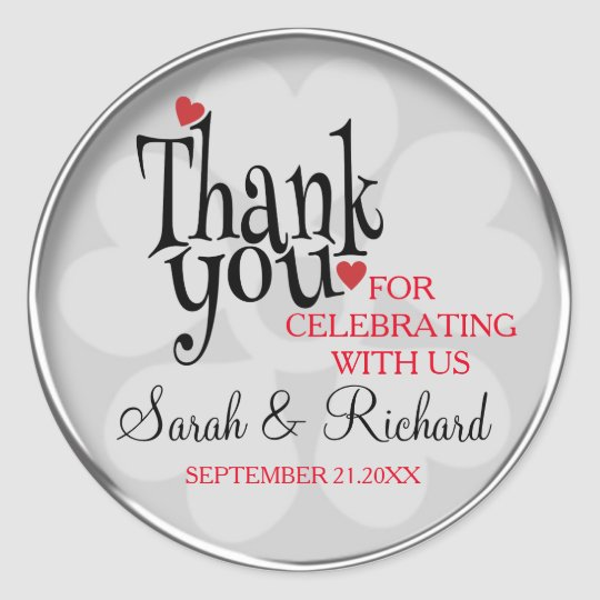 Personalized Silver Grey Wedding Thank You Classic Round Sticker