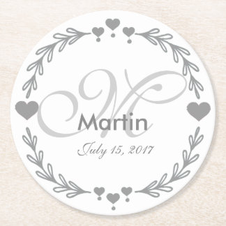 Personalized Silver Heart Wedding Favor Coasters