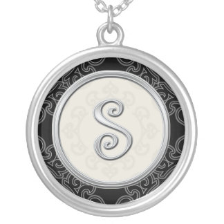 Personalized Silver Initial Pendant Necklace::S