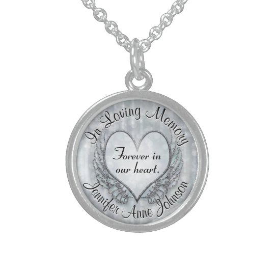 Personalized Silver Memorial Sterling Silver Necklace