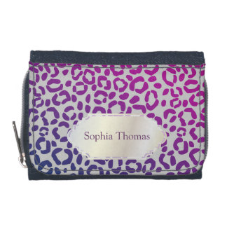 Personalized Silver Name Plaque on Leopard Print Wallets