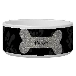 Personalized silver shiny dog bone pet food bowl