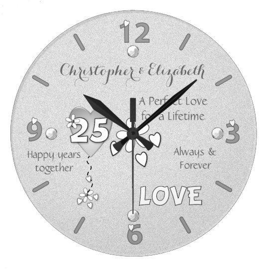 Personalized Silver Wedding 25th Anniversary Clock