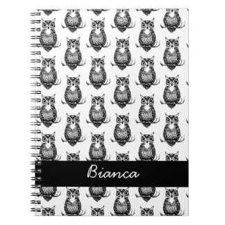Personalized Simple Illustrated Owl Pattern Spiral Notebook