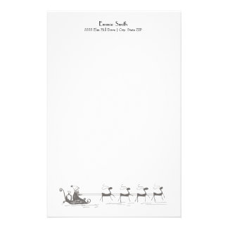 Personalized Simple White Christmas Santa's Sleigh Stationery