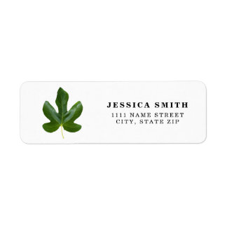 Personalized Single Green leaf closeup isolated Return Address Label