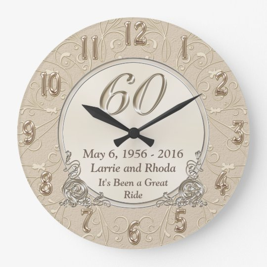 Personalized Sixtieth Wedding Anniversary Gifts Large Clock
