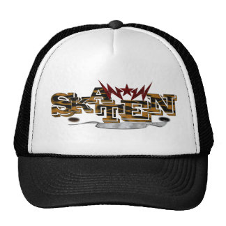 Personalized skateboard cap in black-and-white trucker hat