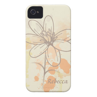 Personalized Sketched Floral on Watercolor Splats iPhone 4 Case-Mate Case