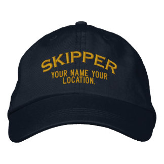 Personalized Skipper Nautical Style Hat Embroidered Hat