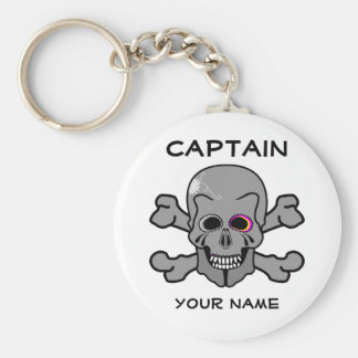 Personalized skull and Cross bones Basic Round Button Keychain