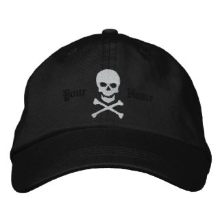 Personalized Skull and Crossbones Embroidered Cap
