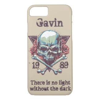 Personalized Skull and Crossbones, Gothic Rose Case-Mate iPhone Case