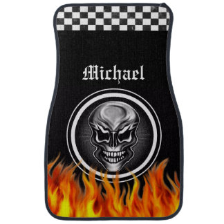 Personalized Skull and Flames Car Mats Auto Mat