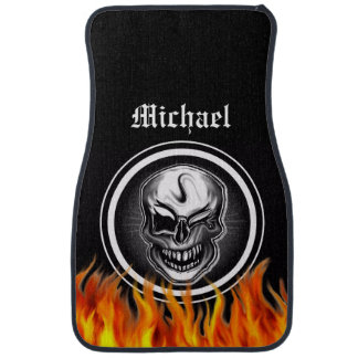 Personalized Skull and Flames Car Mats Car Floor Carpet