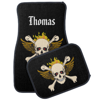 Personalized Skull and Wings with Crossbones Fire Car Mat