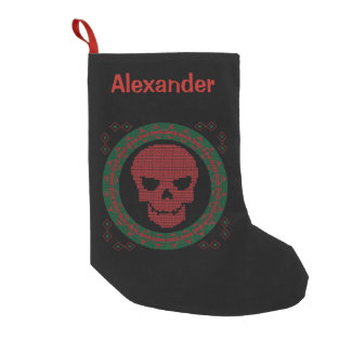 Personalized Skull Ugly Holiday Sweater Christmas Small Christmas Stocking