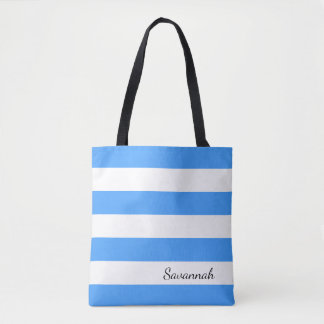 Personalized Sky Blue and White Striped Tote