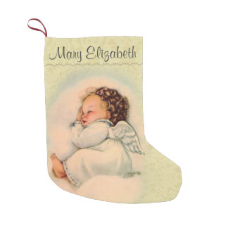 Personalized Sleeping Angel in Cloud Small Christmas Stocking